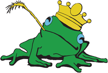 Pond King Water Gardens Logo, Frog Wearing Crown
